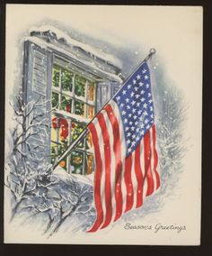 Vintage famous artist colonial santa his trumpet greeting card vintage used christmas greeting card famous artists embossed patriotic flag 50s m4hsunfo