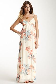 Apricot Chiffon Maxi Dress - Sophie Stargazer Boutique - 1