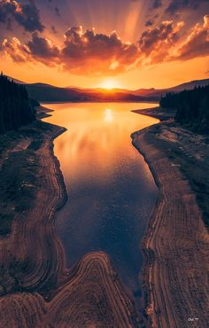 Sunset over a lake in Grand Canyon National Park... Nature's lustrous colors are amazing!