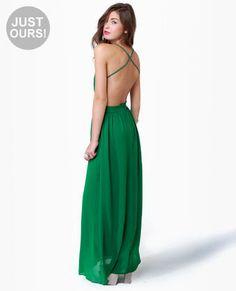 LuLu*s Exclusive Rooftop Garden Backless Green Maxi Dress