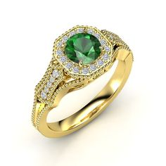 The Melissa Ring customized in emerald, diamond and yellow gold