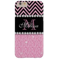 PINK GLITTER BLACK CHEVRON MONOGRAMMED BARELY THERE iPhone 6 PLUS CASE PINK GLITTER BLACK CHEVRON MONOGRAMMED 2. Elke Clarke ©. Other styles and colors available in our store, Monogramgallery © at Zazzle. GIRLY MODERN BABY PINK GLITTER (PRINTED EFFECT) WITH BLACK AND PINK CHEVRON PATTERN, MONOGRAMMED WITH YOUR NAME, YOUR INITIAL OR MONOGRAM ON A BLACK STRIPE OR BAND WITH A BORDER OF PRINTED WHITE DIAMONDS. TRENDY, CHIC COOL CUTE DESIGN FOR HER, THE TRENDSETTER, THE FASHIONISTA #chevron ...