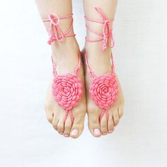Barefoot sandals Coral pink crochet flowers Beach wedding Boho chic Bohemian anklet Summer fashion Yoga Belly dance Ballet