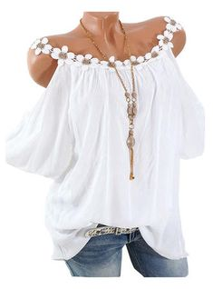 Shopping Camisole Flowers Patchwork Plain Blouse online with high-quality and best prices Shirts & Blouses at Luvyle. Cute Blouses, Blouses For Women, Shirt Blouses, Cold Shoulder Blouse, Blouse Online, Casual Shirts, Fashion Outfits, Clothes, Dresses