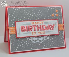 I used the Stampin' Up! Super Duper stamp set to create my card for the Fab Friday sketch challenge this week. Here is the sketch for Fab Friday Hope that you'll stop by the Fab Friday Challe… Birthday Celebration, 2nd Birthday, Birthday Cards, Birthday Stuff, Paper Crafts, Diy Crafts, Birthday Numbers, Some Cards, Scrapbook Pages
