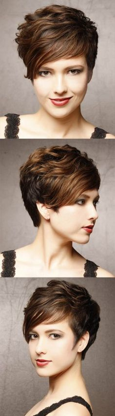 Short Wavy Hairstyle with Side Bangs