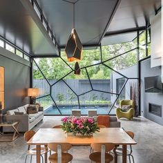 "・・・  ""Beautiful shot of the faceted feature window in @rossettiarchitects Hawthorn residence, with custom Topaz pendants matching the geometry by @copper_id.    Photography @andrewashtonphoto   #architecture #homedesign #lifestyle #style #buildingdesign #landscapedesign #conceptdesign #interiors #decorating #interiordesign"""