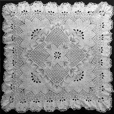 Quadratische Decke - Square Doily In Knitted Lace Designed By Herbert Niebling - PDF - A4 (European) Paper Size