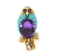 Cartier  An Amethyst and Turquoise Owl Brooch,  circa 1960