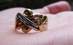 RARE TRI colored 14kt gold Turkish puzzle ring by gems4borth, $439.00