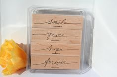 Stampin UP Rubber Stamp wonderful words II SET of Retired stamps, used, smile, peace, hope, forever, cursive word stamps, phrase, saying by MyCreativePossession on Etsy