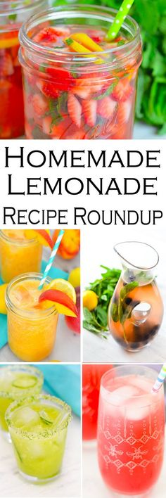 Fresh Lemonade Recipe Roundup Delicious homemade lemonade recipes with fresh fruit and juices. Cucumbers, strawberry mint, ginger, berries, and so much more! Fresh Lemonade Recipe, Homemade Lemonade Recipes, Homemade Smoothies, Easy Drink Recipes, Drinks Alcohol Recipes, Non Alcoholic Drinks, Summer Recipes, Punch Recipes, Party Recipes