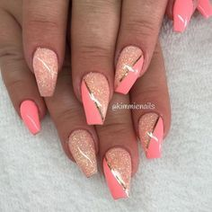 Peachy & Miss Universe # Nails # Nails technology - Nail Art Design Cute Acrylic Nails, Acrylic Nail Designs, Nail Art Designs, Orange Nail Designs, Orange Nails, Pink Nails, Glitter Nails, Pink Nail Art, Fancy Nails