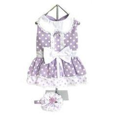 Lavender Polka-Dot Dog Dress Set w/ Hat Pet Boutique, Dog Wear, Dog Dresses, Pink Polka Dots, Dog Harness, Hair Pieces, Dress Set, My Style, Lace