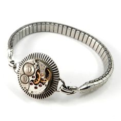 Antique Mechanical Silver Watch Band Bracelet - Inside Out VIntage | Compass Rose Design Jewelry