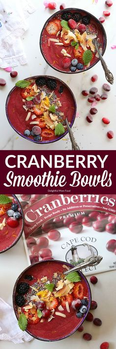 Cranberry Smoothie Bowl- Cranberries blended with zesty fresh orange juice and sweet berries makes this smoothie bowl a winning sweet morning treat! Enjoy it topped with a favorite granola or fresh fruit, chia seeds, toasted coconut and almond slivers for Best Breakfast Smoothies, Eat Breakfast, Breakfast Healthy, Breakfast Potatoes, Free Breakfast, Breakfast Ideas, Cranberry Smoothie, Fruit Smoothies, Fruit Juice