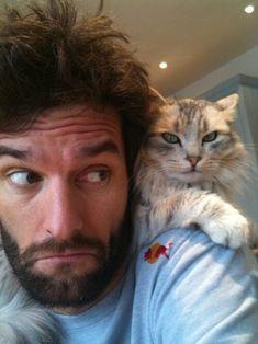 Mark Webber with cat