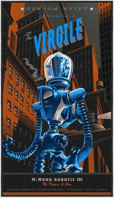 """The Virgile"" Re-interpretation of Movie Poster - Illustration and Graphic by Laurent Durieux (b. Robots Vintage, Retro Robot, Vintage Music, Arte Sci Fi, Sci Fi Art, Science Fiction Art, Pulp Fiction, Laurent Durieux, Poster Design"
