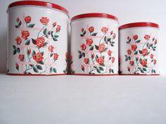 Vintage Decoware Red Roses Canisters Vintage by SPARKLESandSASS, $25.99
