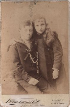 Cabinet Photo of 2 victorian children taken in Liverpool around 1890s by Brown Barnes & Bell studio located at 87 Lord Street.