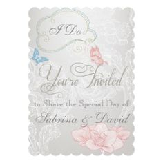 Whimsical Butterflies and Lace Wedding Invitation