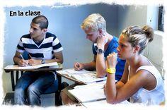 Tijdens de Spaanse les in San Sebastián.