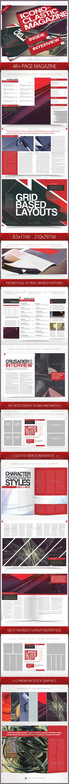 Iconoclastic 48+ Page Magazine Template #GraphicRiver Iconoclastic 48+ Page Magazine Template This 48 page magazine template is perfect for a number of uses such as minimal, art gallery, photography, design, tech, etc. Tons of real-world features are packed as well as both A4 and US Letter versions. Included in the Template: 48 Page Template Table of Contents Design Cover Design Clean Character and Paragraph Styles Auto Page Numbering Master Page Styles A4 and US Letter Versions Grid-Based…