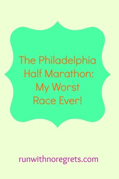 There's one race I had that will always be considered my worst of all time: The Philadelphia Half Marathon! Check out why it was so awful and learn from my mistakes! Running Workouts, Running Tips, Fun Workouts, Health Goals, Health And Fitness Tips, Running Motivation, Fitness Motivation, Fitness Goals, Half Marathon Training Plan