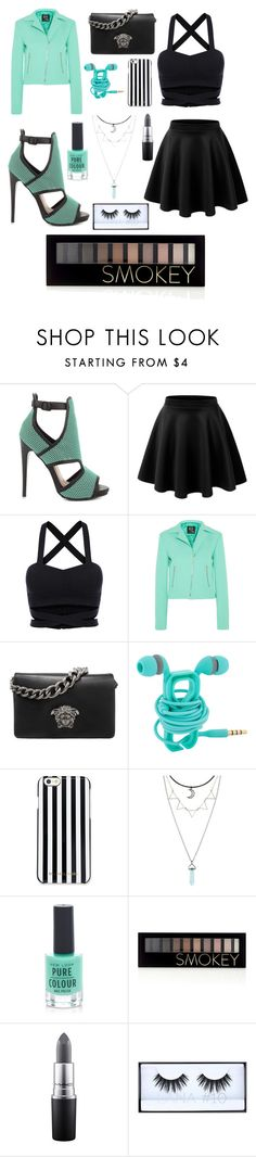 """""""Untitled #19"""" by denisegul ❤ liked on Polyvore featuring Steve Madden, McQ by Alexander McQueen, Versace, MICHAEL Michael Kors, New Look, Forever 21, MAC Cosmetics and Huda Beauty"""