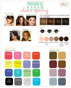 Cardigan Empire: My Color Analysis: Clear Spring, Light Spring and Clear Winter Bright Spring, Clear Spring, Clear Winter, Dark Winter, Warm Spring, Soft Summer, Summer Skin, Spring Color Palette, Spring Colors