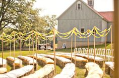 * USE STREAMERS    Streamers don't look cheap if done right!  Try using them (in your wedding colors) to line your aisle, or hanging from a tree for a whimsical & sweet decoration.
