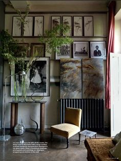 Eclectic French Country living room from Cote Sud home decor magazine from France.A hallmark of French Country Look is a painted and distressed furniture, and walls that have a crumbling old plaster feel. Fabric choices would be Toile, stripes and casual floral's.