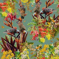 Garden Kaka II (55cm) Limited Edition Prints, Bird Feeders, New Zealand, Watercolor Paintings, Digital Prints, Cool Art, Fine Art Prints, Flora, Vibrant
