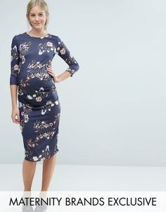 Buy it now. Bluebelle Maternity Floral Printed Bodycon Dress - Navy. Maternity dress by Bluebelle Maternity, Soft-touch jersey, Crew neck, All-over floral print, Close-cut bodycon fit, Designed to fit through all stages of pregnancy, Machine wash, 96% Viscose, 4% Elastane, Our model wears a UK 8/EU 36/US 4 and is 178cm/5'10 tall, Exclusive to ASOS. ABOUT BLUEBELLE MATERNITY Bluebelle Maternity is upping your maternity game to a perfect 10. Give your bump a dressing up in soft skater and…