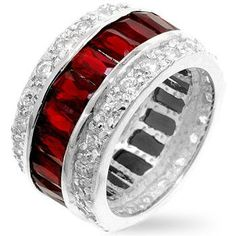 Triple Row Red Eternity Band