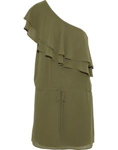 Crepe Ruffles Basic solid color Deep neckline One-shoulder No pockets Drawstring closure Fully lined Haute Hippie, Embellished Dress, Crepe Dress, Fashion Outlet, Military Green, Hippie Style, World Of Fashion, Dress Outfits, Fitness Models