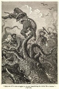 Illustration showing giant squid attack, 'Only one of its arms wriggled in the air, brandishing the victim like a feather', from Twenty Thousand Leagues Under the Sea by Jules Verne, p.275. Repro ID: F5715-004. ©National Maritime Museum, Greenwich, London