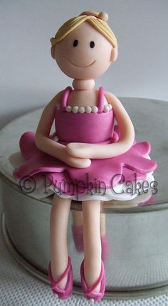 Modelling clay ballerina - could be done as a cake topper for childs birthday