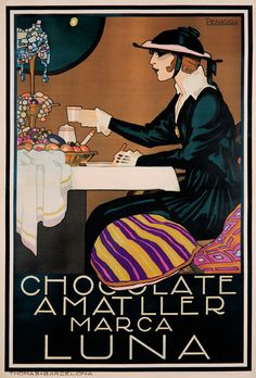 Chocolate, Luna  A vintage Italian art advertising poster. This was an ad for a chocolate coffee type beverage in Italy, ' Chocolate Amatller' . It features a woman sitting at a cafe table and says that the drink ' marks the moon'.