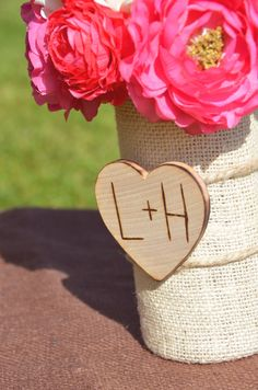 Burlap Wedding Vase Centerpiece or for your  by happiestcreations, $14.99