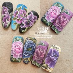 Фотография Uñas One Stroke, One Stroke Nails, One Stroke Painting, Nails & Co, Pink Nails, Nails First, Dream Nails, Flower Nail Art, Manicure And Pedicure