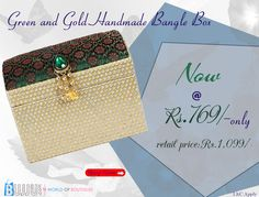 Get this Green and Gold Handmade Bangle Box with One Slot now at best price...  Product Name:Green and Gold Handmade Bangle Box with One Slot Product Code:MIAG9MJ016 Product Price:Rs.769/- Buy at link:http://bit.ly/1LJNNF8