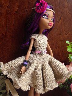 Monster High Doll Clothes Handmade Crochet Dress                                                                                                                                                     More