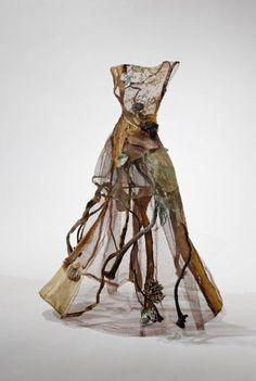 "Mixed Media Dress Sculpture (kelp, shells & steel mesh) exploring the ""cloaking & revealing of the inner self"" // Christina Chalmers #art"