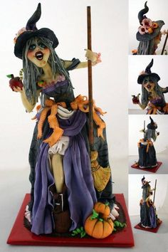 witch - cake by Emanuela Bolo Halloween, Dessert Halloween, Theme Halloween, Halloween Cakes, Halloween Treats, Halloween Foods, Gorgeous Cakes, Amazing Cakes, Biscuit