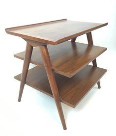 Mid Century Danish Modern Merton Gershun 3-Tier Walnut End Table