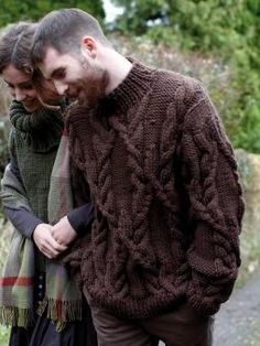 Knit this man's cabled sweater from Pioneer, a design by Martin Storey using the beautiful yarn Big Wool (merino wool). With a stunning cable design, high cosy neck and full length shallow set-in sleeves, this knitting pattern is for the experienced knitter.