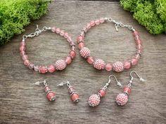 Anya lánya cseresznyekvarc fülbevaló és karkötő ásvány szett