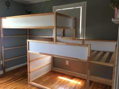 Boy's Room – Triple Bunk Bed Ikea Kura Hack Source by janarehle Triple Bunk Bed Ikea, Ikea Bunk Bed Hack, Ikea Kura Hack, Triple Bed, Bunk Beds With Stairs, Kids Bunk Beds, Cama Ikea, Bunk Bed Plans, Bunk Bed Designs