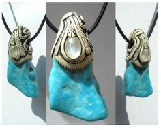 Turquoise pendant with Moonstone inset  Turq19 by Khayanite, $40.00